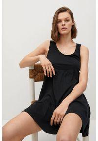 mango - Mango - Sukienka MAROTO. Kolor: czarny. Materiał: dzianina, bawełna. Długość rękawa: na ramiączkach. Typ sukienki: rozkloszowane