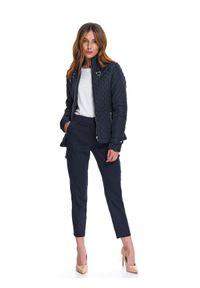 Niebieska kurtka TOP SECRET krótka, na wiosnę, z długim rękawem, z aplikacjami