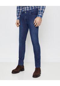 FAY - Niebieskie jeansy Slim Fit. Okazja: na co dzień. Kolor: niebieski. Długość: długie. Wzór: aplikacja. Styl: klasyczny, casual