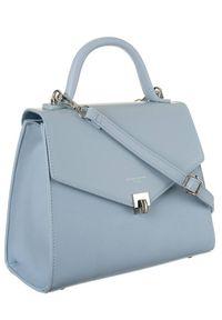 Niebieska torebka DAVID JONES gładkie, klasyczna, skórzana