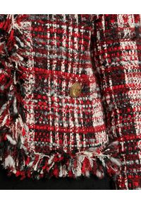 Luisa Spagnoli - LUISA SPAGNOLI - Marynarka z frędzlami Stick. Kolor: czarny. Materiał: materiał. Wzór: ze splotem