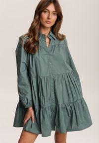Renee - Niebieska Sukienka Hazestrike. Kolor: niebieski. Długość rękawa: długi rękaw. Wzór: aplikacja. Typ sukienki: koszulowe. Styl: elegancki. Długość: mini
