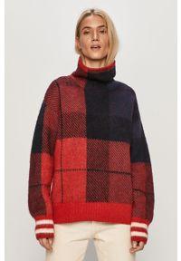 Czerwony sweter TOMMY HILFIGER z golfem, długi, z długim rękawem