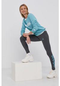 Adidas - adidas - Legginsy. Kolor: szary. Materiał: bawełna, dzianina. Wzór: nadruk