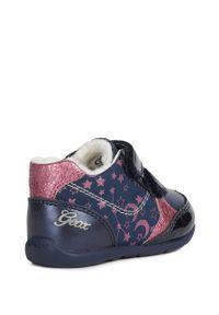 Niebieskie buty sportowe Geox z cholewką, z okrągłym noskiem, na rzepy