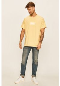 Żółty t-shirt Levi's® na spotkanie biznesowe, casualowy, z okrągłym kołnierzem