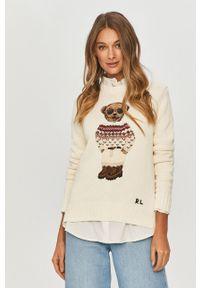 Kremowy sweter Polo Ralph Lauren z aplikacjami, casualowy, polo
