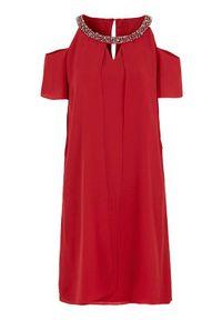 Czerwona sukienka Cellbes z krótkim rękawem, z aplikacjami, wizytowa