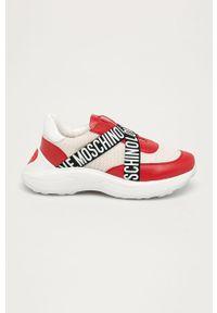 Czerwone buty sportowe Love Moschino na sznurówki, z cholewką