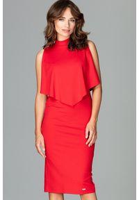 Lenitif - Dopasowana sukienka midi z doszytą pelerynką czerwona. Kolor: czerwony. Typ sukienki: ołówkowe, dopasowane. Styl: elegancki. Długość: midi