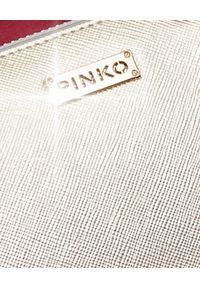 Pinko - PINKO - Srebrny portfel ze skóry Manon. Kolor: srebrny. Materiał: skóra