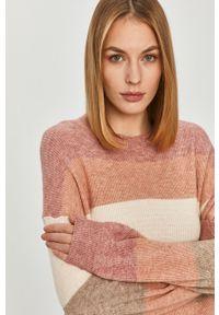 Różowy sweter only długi, z długim rękawem, na co dzień, casualowy