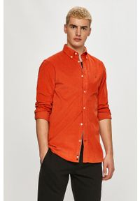 TOMMY HILFIGER - Tommy Hilfiger - Koszula. Typ kołnierza: button down. Kolor: pomarańczowy. Materiał: tkanina. Długość rękawa: długi rękaw. Długość: długie. Wzór: gładki
