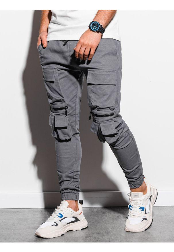 Ombre Clothing - Spodnie męskie joggery P995 - szare - XXL. Kolor: szary. Materiał: bawełna, elastan