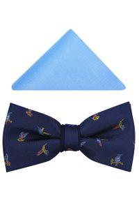 Niebieska muszka elegancka, w kolorowe wzory