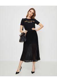 Balmain - BALMAIN - Plisowana spódnica w kolorze czarnym. Kolor: czarny. Sezon: lato