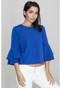 Figl - Niebieska Krótka Bluzka z Rozkloszowanymi Rękawami. Kolor: niebieski. Materiał: wiskoza, poliester. Długość: krótkie