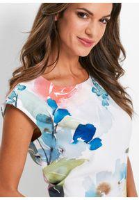 Sukienka bonprix biały w kolorowe kwiaty. Kolor: biały. Wzór: kolorowy, kwiaty. Typ sukienki: ołówkowe
