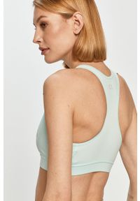 Niebieski biustonosz sportowy Calvin Klein Performance z nadrukiem, z odpinanymi ramiączkami