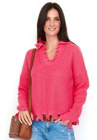 Różowy sweter oversize Makadamia casualowy, na co dzień