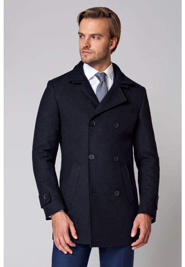 Niebieski płaszcz Lancerto z podwójnym kołnierzykiem, w prążki, elegancki