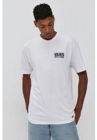Vans - T-shirt bawełniany. Okazja: na co dzień. Kolor: biały. Materiał: bawełna. Wzór: nadruk. Styl: casual