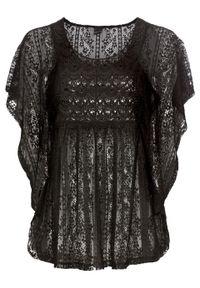 Czarna bluzka bonprix w koronkowe wzory, na lato