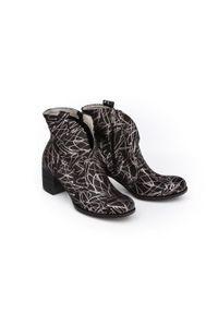 Srebrne botki Zapato biznesowe, w kolorowe wzory