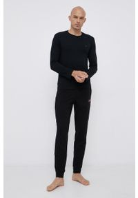 Emporio Armani Underwear - Longsleeve piżamowy bawełniany. Kolor: czarny. Materiał: bawełna. Długość: długie