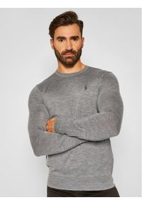 Polo Ralph Lauren Sweter Ls Sf Cn Pp 710714346005 Szary Slim Fit. Typ kołnierza: polo. Kolor: szary