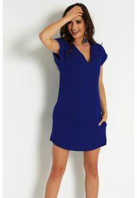 Niebieska sukienka IVON mini, z dekoltem w serek