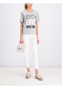 Love Moschino - LOVE MOSCHINO T-Shirt W4F151IM3517 Szary Regular Fit. Kolor: szary