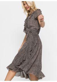 Sukienka kopertowa bonprix brunatny w cętki leoparda. Kolor: brązowy. Typ sukienki: kopertowe