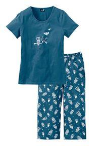 Piżama z krótkim rękawem i spodniami 3/4 bonprix niebieskozielony - biały