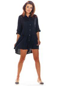 Awama - Czarna Luźna Koszulowa Sukienka z Falbanką. Kolor: czarny. Materiał: wiskoza, elastan. Typ sukienki: koszulowe