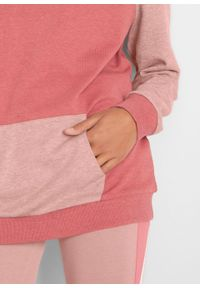 Bluza z bawełny organicznej, długi rękaw bonprix stary jasnoróżowy - rabarbarowy melanż. Kolor: różowy. Materiał: bawełna. Długość rękawa: długi rękaw. Długość: długie. Wzór: melanż. Styl: retro