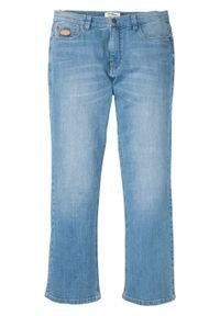 Dżinsy ze stretchem Regular Fit Bootcut bonprix jasnoniebieski denim. Kolor: niebieski