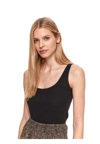 TOP SECRET - T-shirt bez rękawów damski. Okazja: do pracy. Kolor: czarny. Materiał: tkanina. Długość rękawa: bez rękawów. Długość: długie