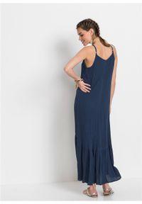Niebieska sukienka bonprix maxi, na ramiączkach
