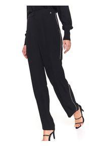 Czarne spodnie TOP SECRET eleganckie, na zimę, z podwyższonym stanem