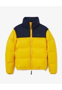 Lacoste - LACOSTE - Żółta kurtka puchowa z logo. Typ kołnierza: kaptur. Kolor: niebieski. Materiał: puch. Wzór: aplikacja