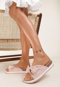Renee - Różowe Klapki Uhreli. Kolor: różowy. Materiał: jeans. Wzór: gładki. Sezon: lato. Obcas: na platformie