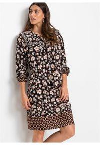 Sukienka z nadrukiem, długi rękaw bonprix czarno-brązowo-niebieski z nadrukiem. Kolor: czarny. Materiał: tkanina. Długość rękawa: długi rękaw. Wzór: nadruk. Styl: boho #6