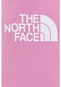The North Face - Top bawełniany. Okazja: na co dzień. Kolor: różowy. Materiał: bawełna. Długość rękawa: na ramiączkach. Wzór: nadruk. Styl: casual