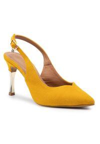 Żółte sandały R.Polański eleganckie, z aplikacjami