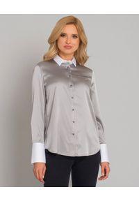 SOLUZIONE - Jedwabna koszula z białymi mankietami. Okazja: na co dzień. Kolor: szary. Materiał: jedwab. Długość: długie. Styl: casual