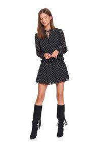 Czarna sukienka TOP SECRET z nadrukiem, mini, na zimę, z falbankami
