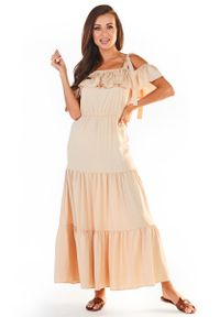 Beżowa sukienka wizytowa Awama maxi