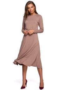 MOE - Rozkloszowana Sukienka z Rozcięciem - Cappuccino. Materiał: wiskoza, elastan