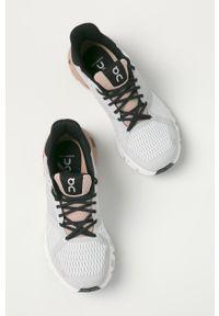 Szare buty sportowe On Running na sznurówki, z cholewką, na obcasie
